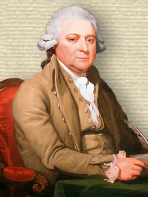 Painting of John Adams, seated behind table foreground hand on table holding papers, upper body, facing forward