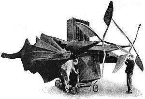 Ader's Avion aircraft with wings partly folded.