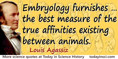 Louis Agassiz quote: Embryology furnishes … the best measure of the true affinities existing between animals.