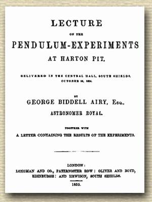 Title page of the printed booklet for the Lecture on the Pendulum-Experiments