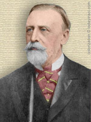 Photo of Thomas Allbutt, upper body facing slightly left. Colorization © todayinsci.com