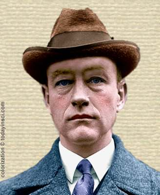 Photo of Roy Chapman Andrews - head and shoulders - colorization © todayinsci.com