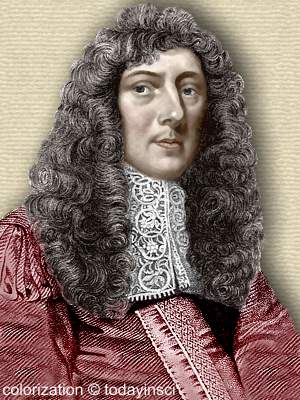 John Aubrey - head and shoulders - book engraving colorization © todayinsci.com