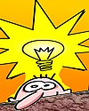 Thumbnail cartoon of lightbulb idea balloon over a face
