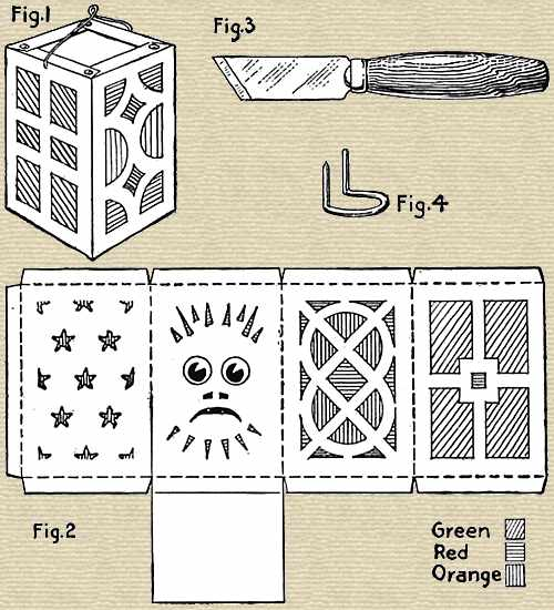 Halloween lantern pattern cutting and construction instructions