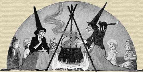 Halloween illustration of two witches at a cauldron surrounded by costumed characters