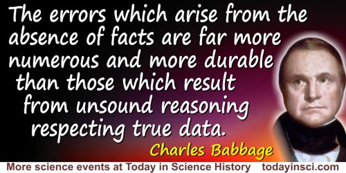 Charles Babbage quote: The errors which arise from the absence of facts are far more numerous and more durable than those which