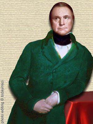 Portrait of Charles Babbage, leaning with elbow on side table, upper body, facing forward. photo editing © todayinsci.com
