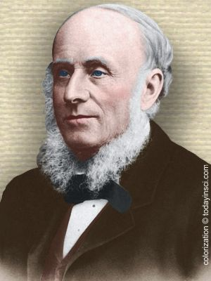 Photo of Alexander Bain - head and shoulders - colorization © todayinsci.com