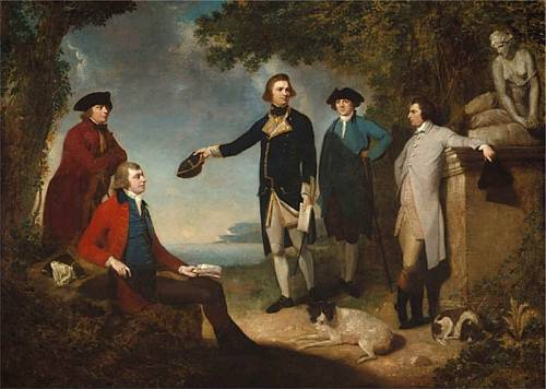 Sir Joseph Banks (red coat) with naturalist explorers