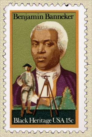 Benjamin Banneker as portrayed on a U.S. stamp.