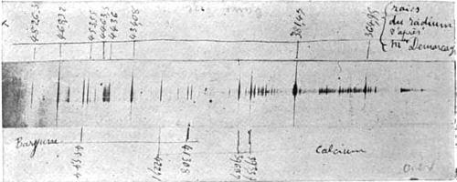 Spectrum of Radium obtained by M. Demarcay