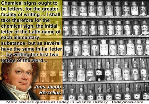 J�ns Jacob Berzelius quote Jons Berzelius quote on chemical symbols - with background of bottles of chemicals