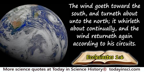 Bible quote: The wind goeth toward the south, and turneth about unto the north; it whirleth about continually, and the wind ret