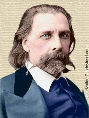 Photo of Josh Billings with beard and handlebar mustache, head and shoulders, facing front. Colorization © todayinsci.com