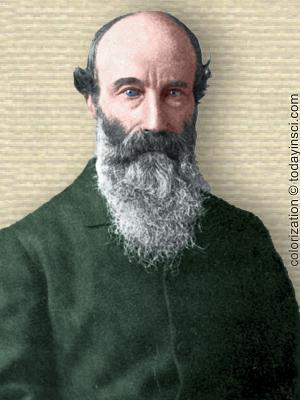 Photo of Thomas G. Bonney, upper body, facing forward, long beard, buttoned coat. Colorization © todayinsci.com