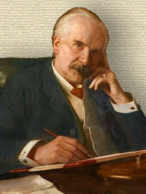 Portrait of Sir Jesse Boot, seated behind desk, upper body, facing front, pen in hand writing