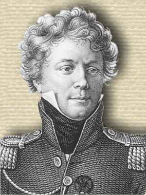 Engraving of Jean-Baptiste-Marie-Georges Bory Saint-Vincent in army dress uniform, head and shoulders, facing slightly right