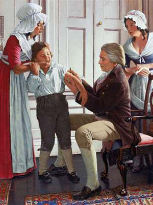 Detail from painting by Robert A. Thom showing seated Edward Jenner in 1796 inoculating James Phipps