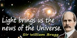 William Bragg quote Light brings us the news of the Universe