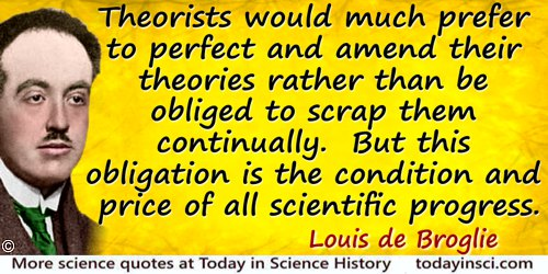 Louis-Victor de Broglie quote: Thus with every advance in our scientific knowledge new elements come up, often forcing us to rec