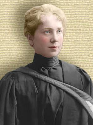 Photo of Harriet Brooks, upper body, facing right, Colorization © todayinsci