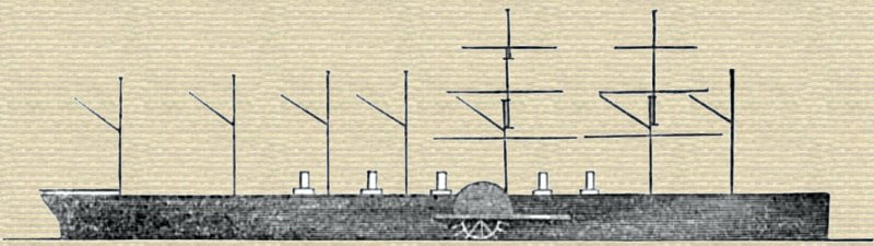 Sketch of the Great Eastern Steamship showing 7 masts and 5 funnels