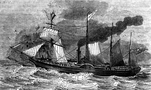 Engraving of Great Western Steam Ship at sea