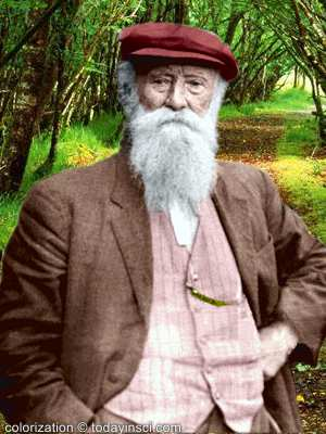 Photo of John Burroughs, upper body, facing front, colorized, tree background added
