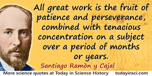 Santiago Ramón y Cajal quote: In summary, all great work is the fruit of patience and perseverance, combined with tenacious conc