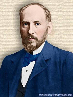 Photo of Santiago Ramón y Cajal, upper body, facing forward. Colorization (only) © todayinsci.com
