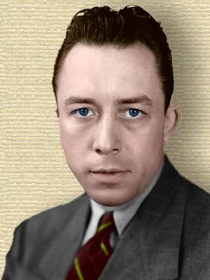 Photo of Albert Camus - head and shoulders - colorization © todayinsci.com