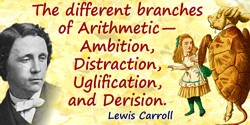 Lewis Carroll quote: The different branches of Arithmetic—Ambition, Distraction, Uglification, and Derision.