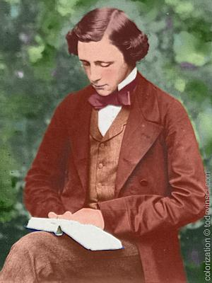 Lewis Carroll seated, 3/4 body turned slightly left, looking down reading book in lap Colorization © todayinsci.com
