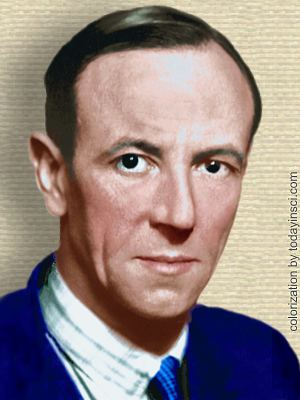 Photo of James Chadwick, head, facing forward. Colorized by todayinsci.com