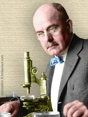 Photo Charles Manning Child at lab bench with microscope upper body facing left. Colorization © todayinsci