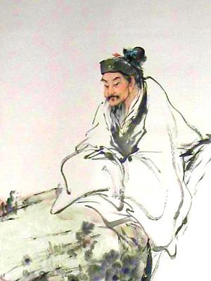 Watercolor painting of an ancient Chinese philosopher, in white robe, seated on rock, arms in opposite sleeves.