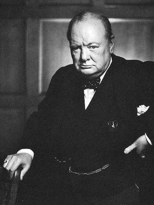 Photo of Winston Churchill Standing, holding cane - upper body