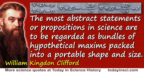 William Kingdon Clifford quote: The most abstract statements or propositions in science are to be regarded as bundles of hypothe