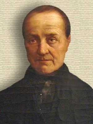 Painting of Auguste Comte, head and shoulders, facing front