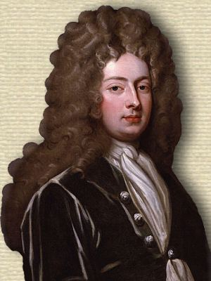 Portrait of William Congreve, playwright, head and shoulders, facing front, wearing a large wig.