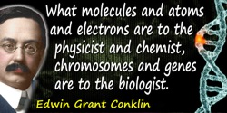 Edwin Grant Conklin quote: What molecules and atoms and electrons are to the physicist and chemist, chromosomes and genes are to