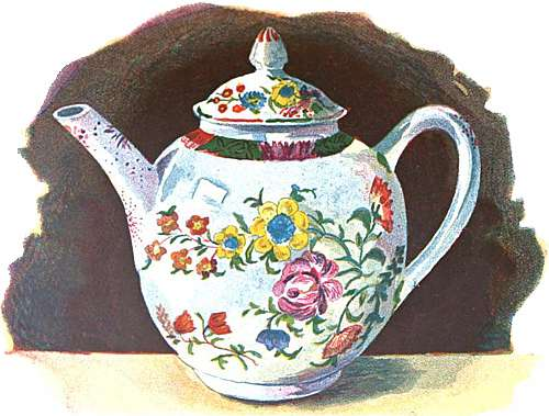Illustration of a Plymouth China teapot, from a drawing in watercolours