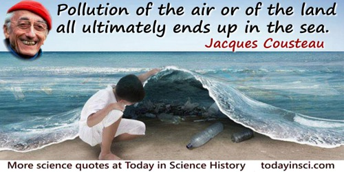 Jacques-Yves Cousteau quote: Pollution of the air or of the land all ultimately ends up in the sea.