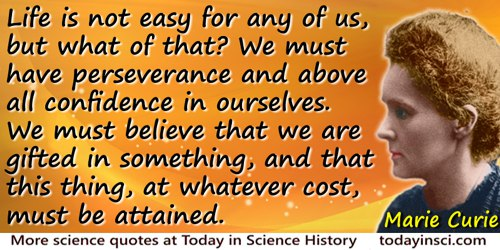 Marie Curie quote: Life is not easy for any of us, but what of that? We must have perseverance and above all confidence in ourse