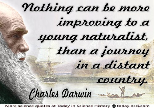 Charles Darwin in color with quote Improving…a young naturalist on Background HMS Beagle in seaways of Tierra del Fuego