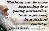 Charles Darwin in color with quote Improving…a young naturalist on Background HMS Beagle in seaways of Terra del Fuego