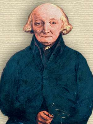 Portrait of Jean-André Deluc, upper body, holding spectacles in lap, facing forward