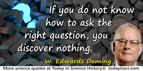 W. Edwards Deming quote: If you do not know how to ask the right question, you discover nothing.