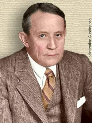 Photo of George Dorsey, upper body, wearing suit and tie, facing forward. Colorization (only) © todayinsci.com